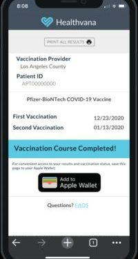 In Los Angeles, COVID-19 vaccination proof can be added to Apple Wallet